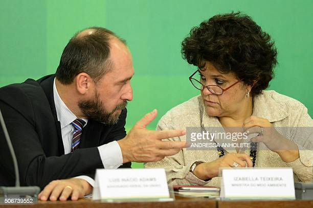 Brazil's Environment Minister Izabela Teixeira , speaks after meeting in Brasilia, on January 25, 2016 with the president of the Vale do Rio Doce...