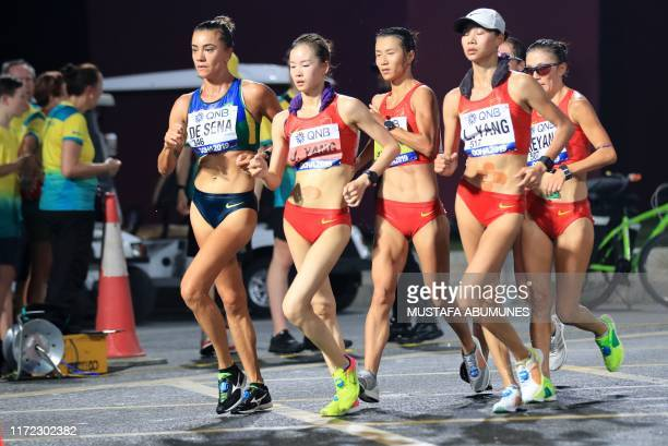 Brazil's Erica De Sena China's Yang Jiayu China's Liu Hong China's Yang Liujing China's Qieyang Shenjie compete in the Women's 20km Race Walk final...