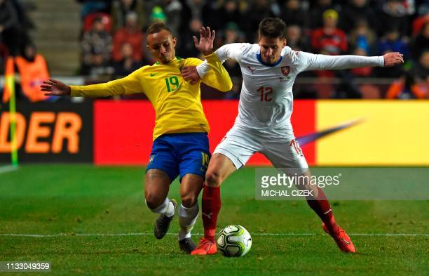 Brazil's Everton and Czech Republic's Lukas Masopust vie for the ball during the friendly football match between the Czech Republic and Brazil at the...