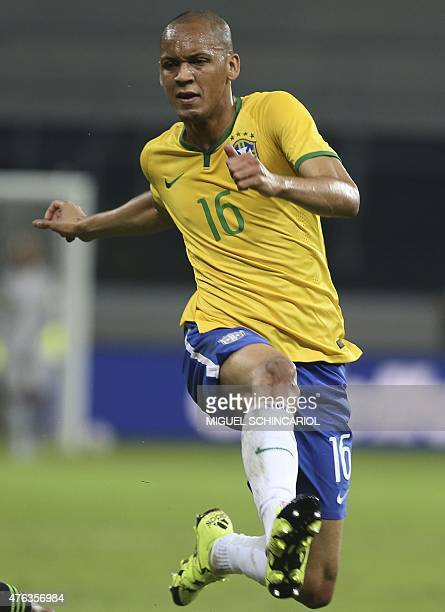 Brazil's Fabinho during a friendly match in preparation for Copa America Chile 2015 at Allianz Parque stadium in Sao Paulo Brazil on June 07 2015 AFP...