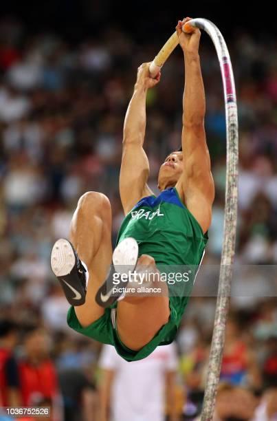 Brazil's Fabio da Silva competes in the men's pole vault qualification at the 15th International Association of Athletics Federations Athletics World...