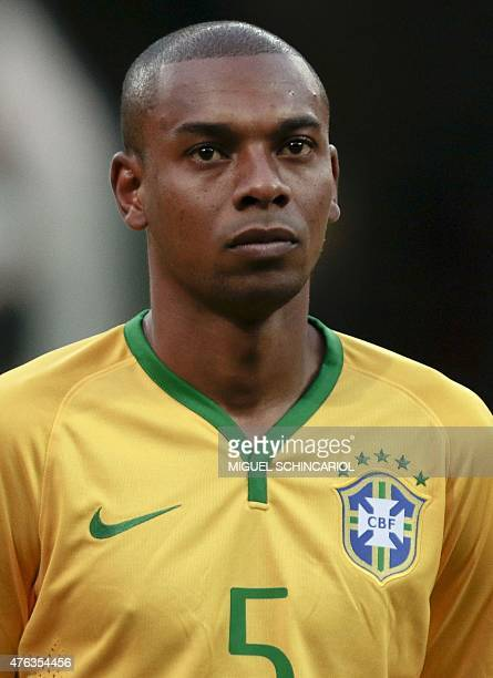 Brazil's Fernandinho during a friendly match against Mexico in preparation for Copa America Chile 2015 at Allianz Parque stadium in Sao Paulo Brazil...