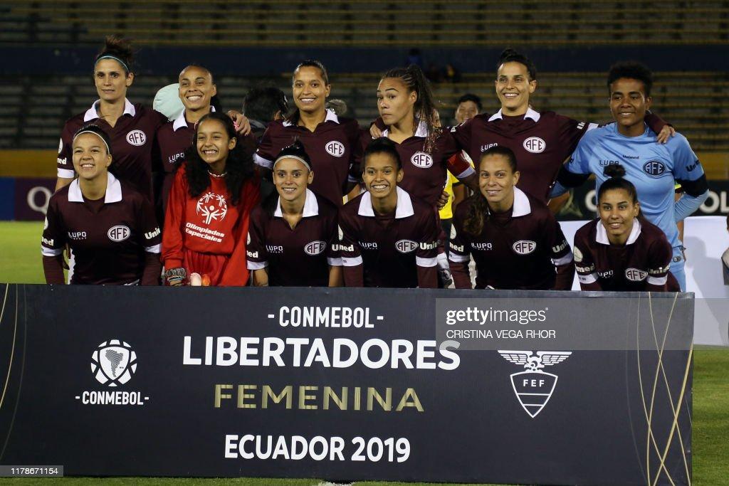 Brazils Ferroviaria Team Players Pose Before Their Womens