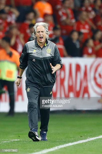 Brazil's Flamengo coach Jorge Jesus gestures during the Copa Libertadores football match against Brazil's Internacional at the Beira Rio stadium in...