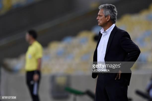 Brazil's Flamengo coach Reinaldo Rueda gestures during their Copa Sudamericana first leg semifinal football match against Colombia's Junior de...
