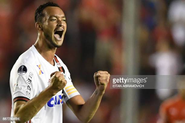 Brazil's Flamengo defender Rever celebrates after scoring against Argentina's Independiente during the Copa Sudamericana first leg football final at...