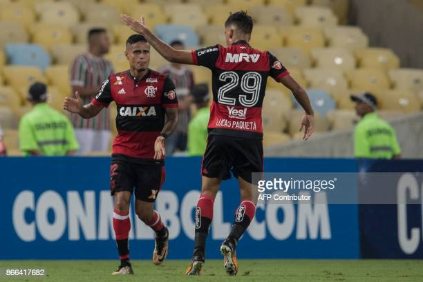Brazil's Flamengo Everton celebrates his goal against Brazil's Flamengo with his teammate Lucas Paqueta during the 2017 Sudamericana Cup football...