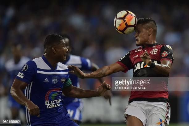 Brazil´s Flamengo Everton vies for the ball with Ecuador´s Emelec Jorge Guagua during their Copa Libertadores 2018 football match at George Capwell...