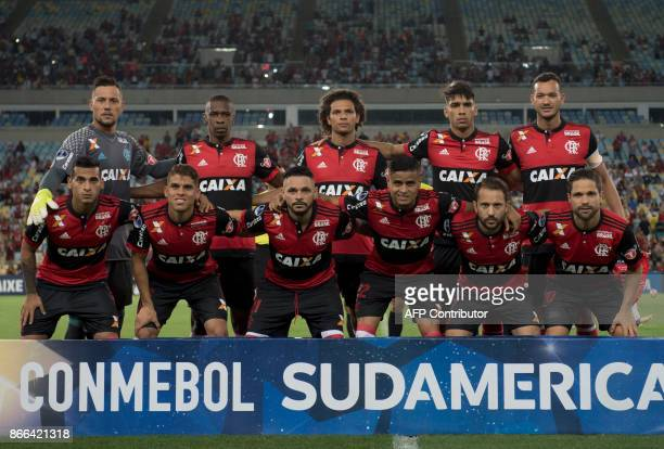 Brazil's Flamengo footballers pose for pictures before the 2017 Sudamericana Cup football match against Brazil's Fluminense at Maracana stadium in...