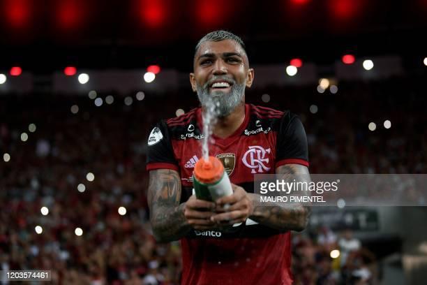 Brazil's Flamengo forward Gabriel Barbosa celebrates at the end of the Recopa Sudamericana 2020 final football match against Ecuador's Independiente...