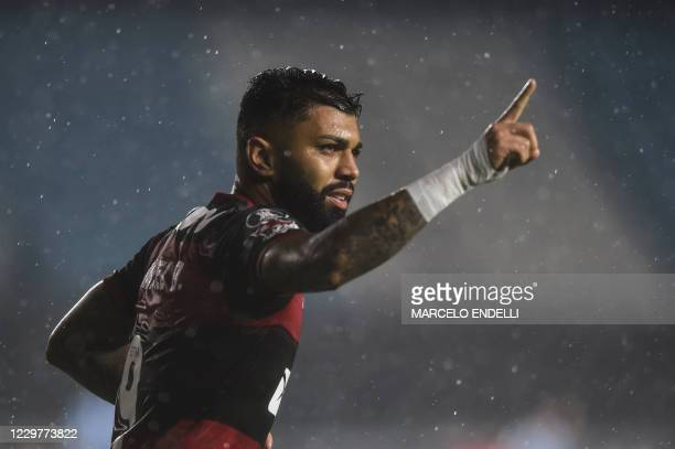 Brazil's Flamengo Gabriel Barbosa celebrates after scoring against Argentina's Racing during their closed-door Copa Libertadores round before the...