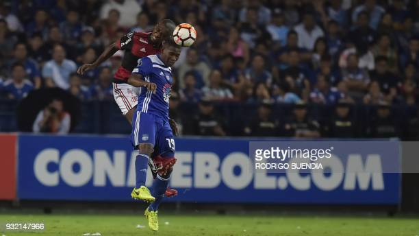 Brazil´s Flamengo Juan vies for the ball with Ecuador´s Emelec Brayan Angulo during their Copa Libertadores 2018 football match at George Capwell...