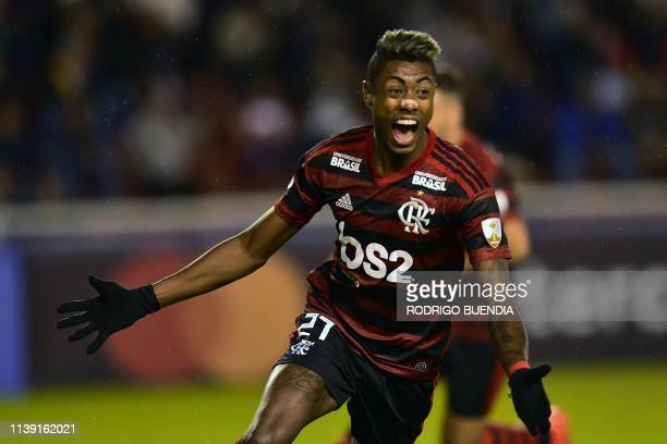 Brazil's Flamengo player Bruno Henrique celebrates his goal against Ecuador's Liga de Quito during their Copa Libertadores football match at Casa...
