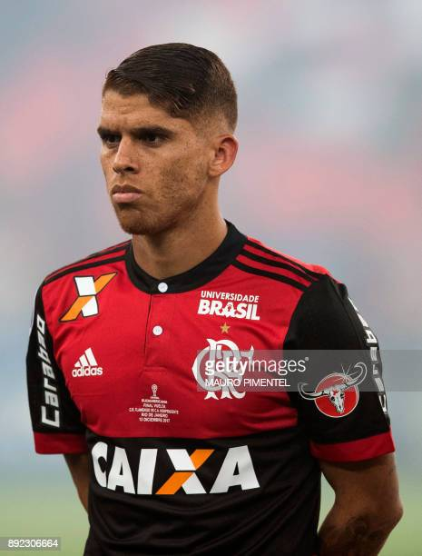 Brazil's Flamengo player Cuellar poses before the start of their Copa Sudamericana football final match against Argentina's Independiente at the...