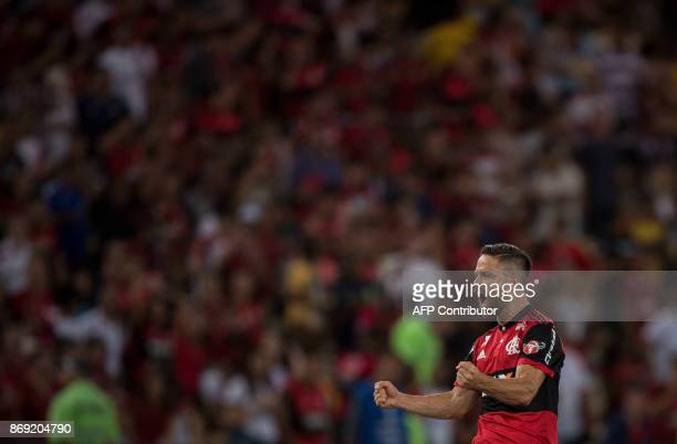 Brazil's Flamengo player Diego celebrates after scoring a goal against Brazil's Fluminense during their 2017 Sudamericana Cup football match at...
