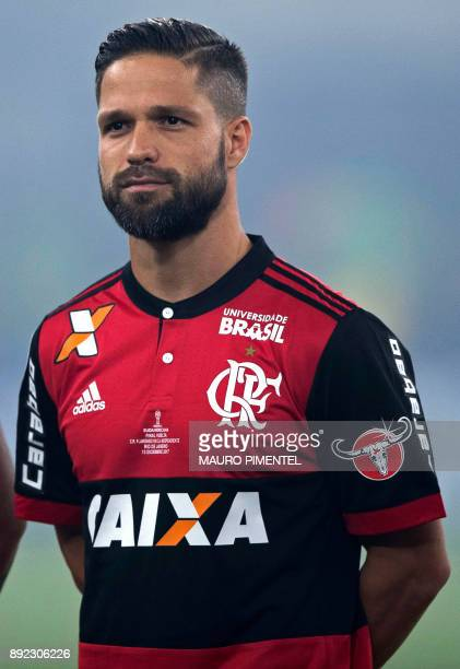 Brazil's Flamengo player Diego sings his national anthem before the start of their Copa Sudamericana football final match against Argentina's...