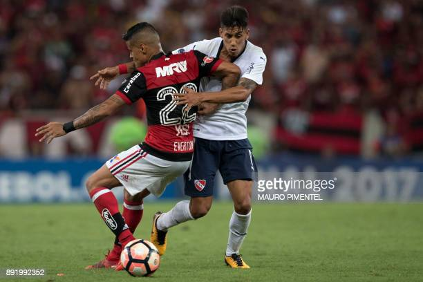 Brazil's Flamengo player Everton vies for the ball with Argentina's Independiente player Alan Franco during 2017 Sudamericana Cup Final match at...