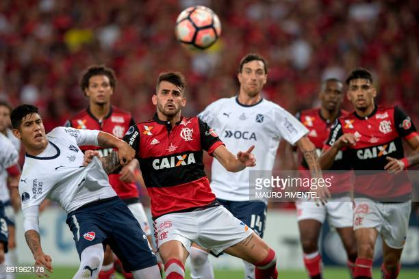 Brazil's Flamengo player Felipe Vizeu vies for the ball with Argentina's Independiente player Alan Franco during 2017 Sudamericana Cup Final match at...
