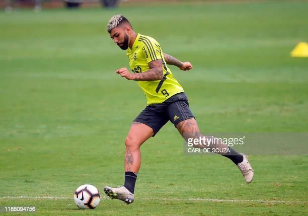 Brazil's Flamengo player Gabigol takes part in a training session in Rio de Janiero, Brazil on December 12 ahead of the semi-final of the FIFA Club...