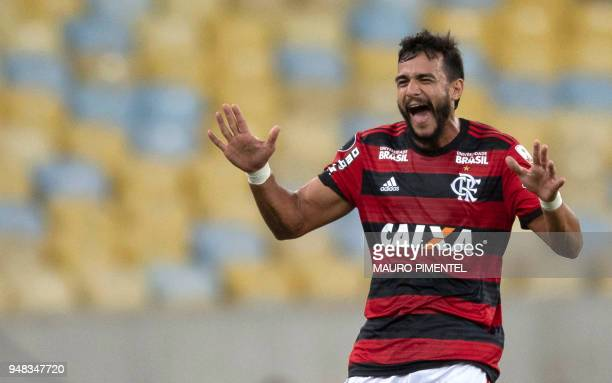 Brazil's Flamengo player Henrique Dourado celebrates after scoring a goal against Colombia's Independiente Santa Fe team during the 2018 Libertadores...