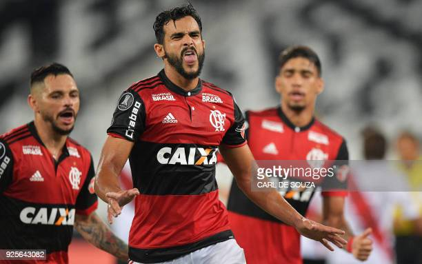 Brazil's Flamengo player Henrique Dourado celebrates after scoring against Argentina's River Plate during their group stage Libertadores football...