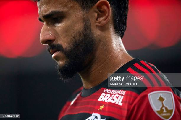 Brazil's Flamengo player Henrique Dourado leaves teh field as he is substituted during a 2018 Libertadores Cup football match against Colombia's...