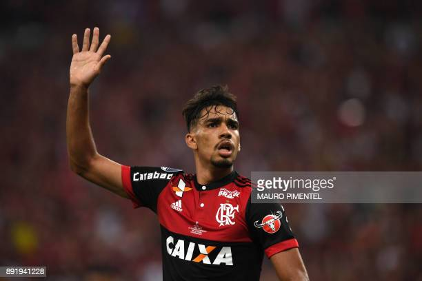 Brazil's Flamengo player Lucas Paqueta celebrates after scoring a goal against Argentina's Independiente team during the 2017 Sudamericana Cup Final...
