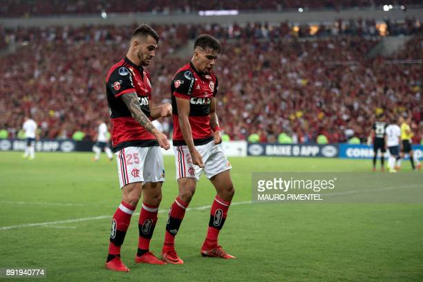 Brazil's Flamengo player Lucas Paqueta celebrates with his teammates after scoring a goal against Argentina's Independiente team during the 2017...