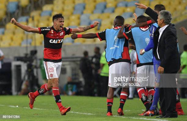 Brazil's Flamengo player Lucas Paqueta celebrates with teammates after scoring a goal against Argentina's Independiente team during the 2017...