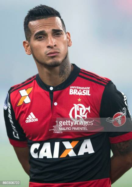 Brazil's Flamengo player Miguel Trauco poses before the start of their Copa Sudamericana football final match against Argentina's Independiente at...