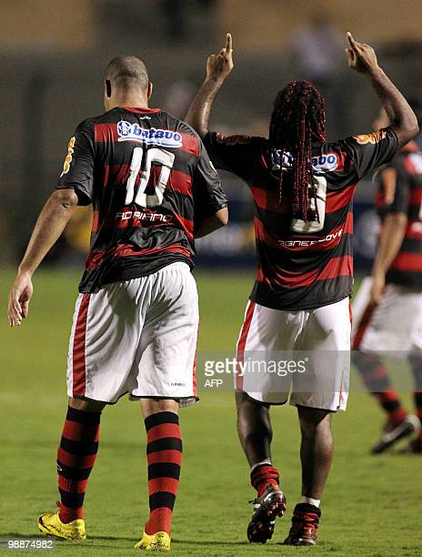 Brazil´s Flamengo players Wagner Love and Adriano celebrate after beating Brazil´s Corinthians during their Copa Libertadores football match at the...