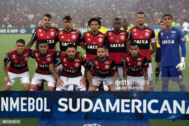 Brazil's Flamengo poses for pictures before the 2017 Sudamericana Cup football final at the Maracana stadium in Rio de Janeiro Brazil on December 13...