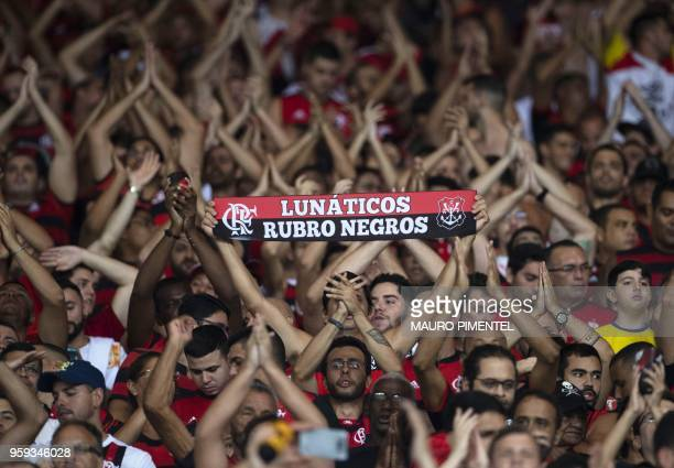 Brazil's Flamengo supporters celebrate victory over Ecuador's Emelec following their Copa Libertadores 2018 football match between Brazil's Flamengo...