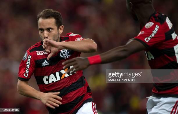 Brazil's Flamengo team player Everton Ribeiro celebrates after scoring against Ecuador's Emelec during their Copa Libertadores 2018 football match at...