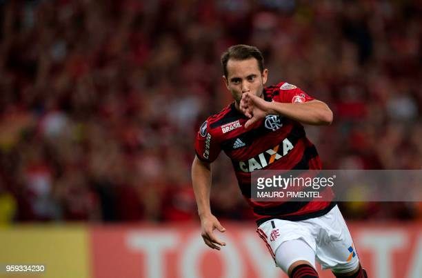 Brazil's Flamengo team player Everton Ribeiro celebrates after scoring against Ecuador's Emelec during the Copa Libertadores 2018 football match at...