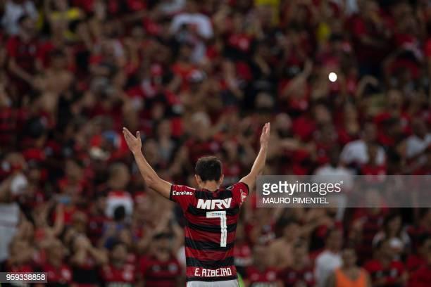 Brazil's Flamengo team player Everton Ribeiro celebrates after scoring his second goal against Ecuador's Emelec during the Copa Libertadores 2018...