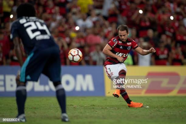 Brazil's Flamengo team player Everton Ribeiro scores his second goal against Ecuador's Emelec during the Copa Libertadores 2018 football match at...