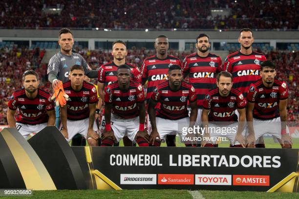 Brazil's Flamengo team players pose for pictures before the start of their Copa Libertadores 2018 football match against Ecuador's Emelec at Maracana...
