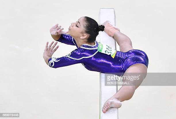 TOPSHOT Brazil's Flavia Saraiva competes in the women's balance beam event final of the Artistic Gymnastics at the Olympic Arena during the Rio 2016...