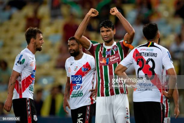 Brazil's Fluminense player Gum , celebrates with teammates after scoring against Bolivia's Nacional Potosi during the 2018 Copa Sudamericana football...