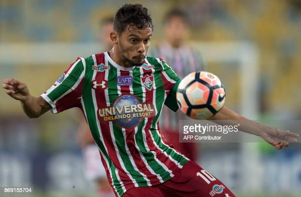 Brazil's Fluminense player Gustavo Scarpa controls the ball during the 2017 Sudamericana Cup football match against Brazil's Flamengo at Maracana...