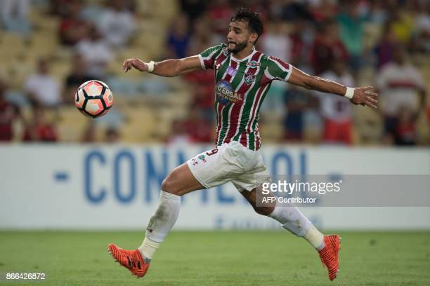 Brazil's Fluminense player Henrique Dourado kicks the ball during the 2017 Sudamericana Cup football match against Flamengo at Maracana stadium in...