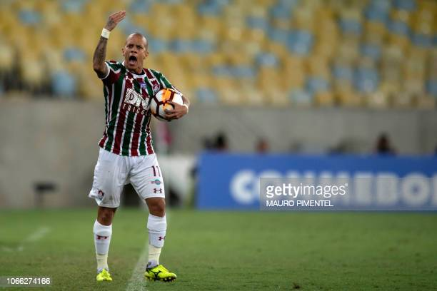 Brazil's Fluminense player Marcos Junior reacts during their Copa Sudamericana 2018 football match at Maracana stadiumin Rio de Janeiro Brazil on...