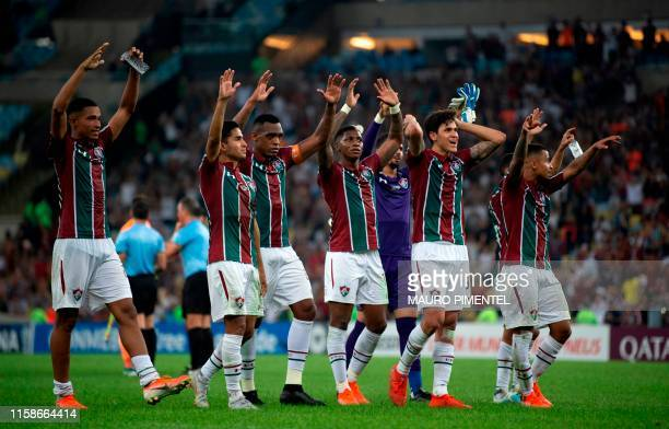 Brazil's Fluminense players celebrate after winning a Copa Sudamericana football match against Uruguay's Penarol at the Maracana stadium in Rio de...