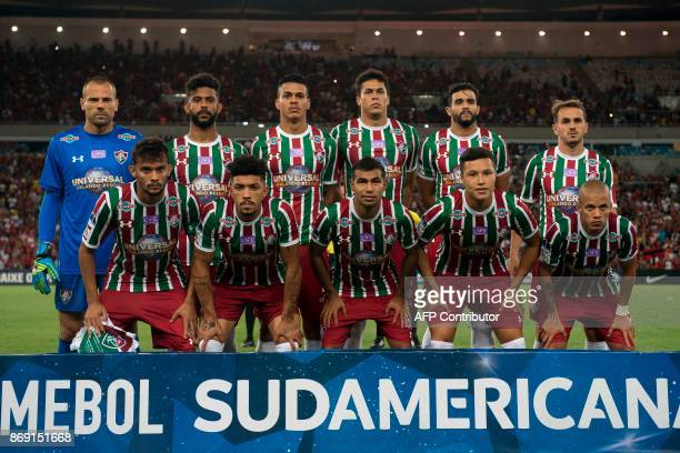 Brazil's Fluminense team poses for pictures before their 2017 Sudamericana Cup football match against Brazil's Flamengo at Maracana stadium in Rio de...