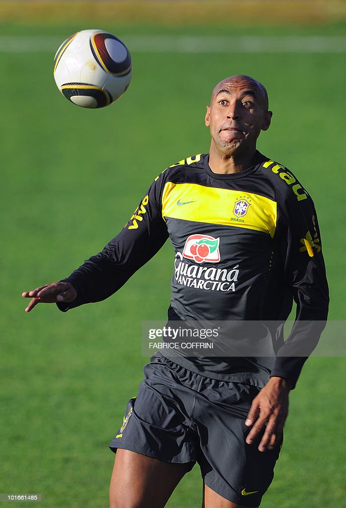 Brazil's football player Luisao controls the ball during a training session at the Randburg High School on June 6, 2010 in Johannesburg ahead of the kick off of the South Africa 2010 World Cup. The 2010 World Cup will take place in South Africa from June 11 to July 11, the first time on African soil for the biggest and most prestigious competition in sport.