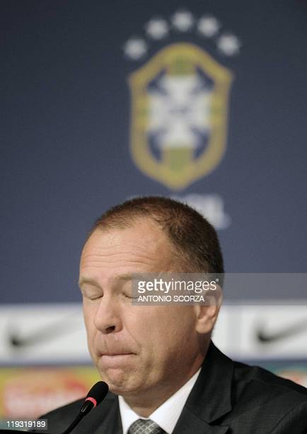 Brazil's football team coach Mano Menezes gestures during a press conference on July 18 in Campana 70 Km north of Buenos Aires Brazil was defeated by...