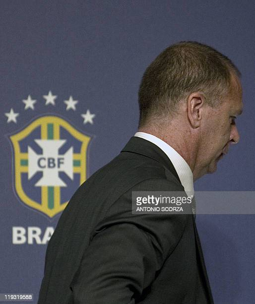 Brazil's football team coach Mano Menezes leaves after a press conference on July 18 in Campana 70 Km north of Buenos Aires Brazil was defeated by...