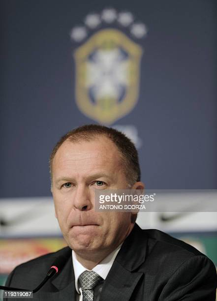Brazil's football team coach Mano Menezes reacts during a press conference on July 18 in Campana 70 Km north of Buenos Aires Brazil was defeated by...