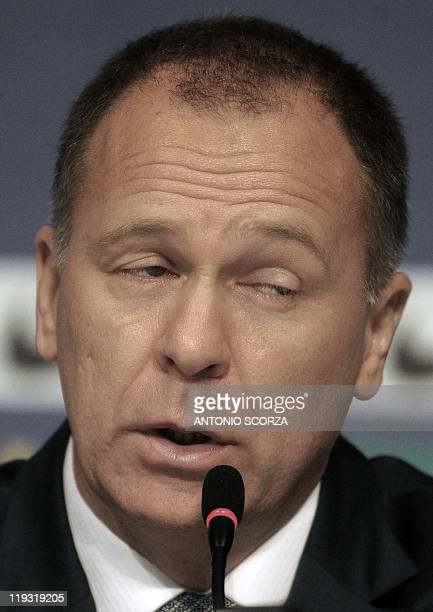 Brazil's football team coach Mano Menezes speaks during a press conference on July 18 in Campana 70 Km north of Buenos Aires Brazil was defeated by...